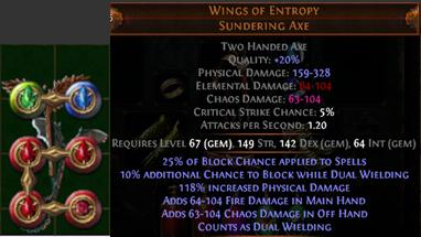 Poe Guide: Dual Axe Wings Of Entropy With High Block