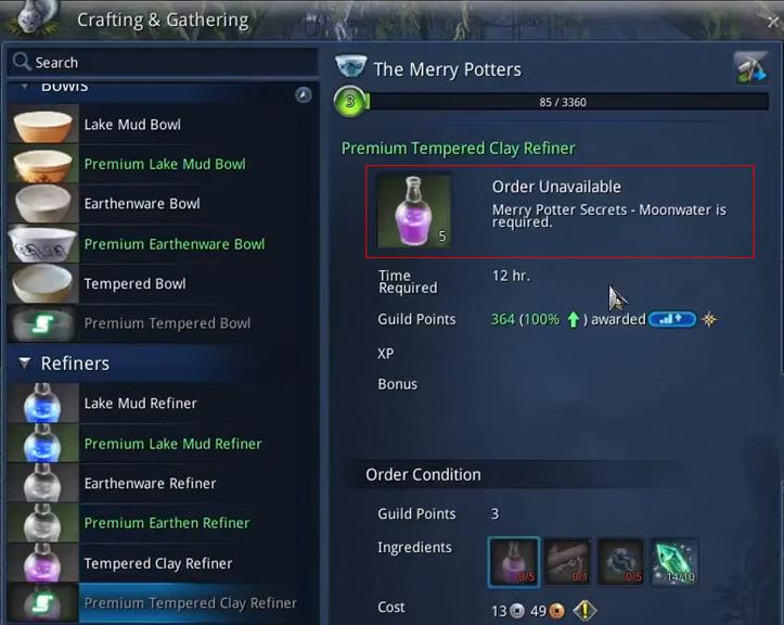 Blade And Soul Crafting & Gathering Guide:Moonwater Transformation