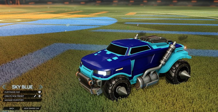 Rocket League New Painted Cars Bodies - Painted Road Hog - Sky Blue