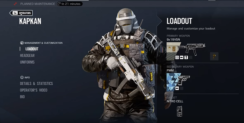 R6 KAPKAN SECONDARY WEAPON