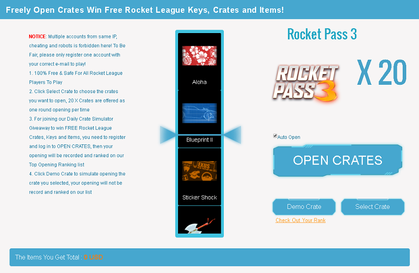 free rocket league pass 3 crate simulato